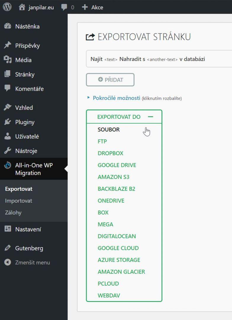 migration - export do souboru